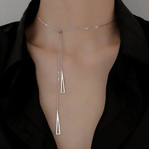 *NEW 925 Sterling Silver Triangle Drop Necklace